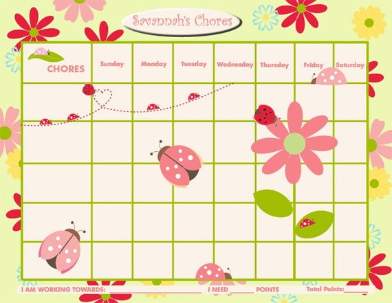 PRINTABLE Personalized Chore Chart / Reward Chart for Children ...