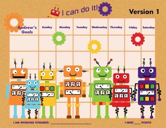 PRINTABLE Personalized Incentive Chart for Kids  - Robots - Three Color Schemes (orange, purple, blue) - Printable PDF Jpeg