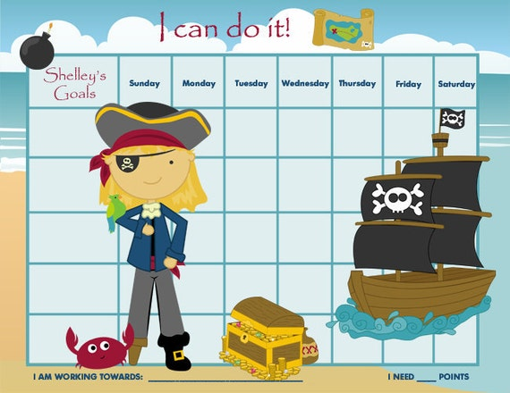 PRINTABLE Personalized Incentive Chart for Children  - Pirates for Boys and Girls - Printable Jpeg or PDF