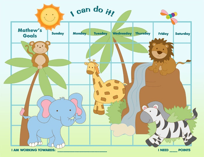 Printable Reward Chart for Children Personalized Dinosaur – Printable Rewards Charts