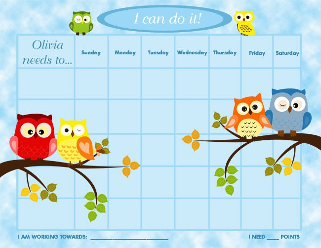 Kids Reward Calendar : Printable personalized children s reward chart chore