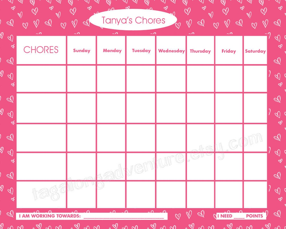 Printable Chore Chart For Children Personalized Candy