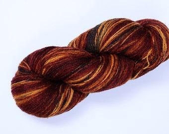 Kauni Wool Yarn Color EP Self Striping 8/2 Rusty Brown Mustard Yellow, 100% Wool, Mega Yardage