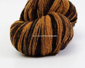 Kauni Wool Yarn Color ED, Self-Striping, Mega-Yardage, Black Brown Mustard Yellow Gradient