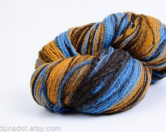 Kauni 2ply Sport Weight Wool Yarn Color EH , Self Striping, Fingering, Brown Mustard Yellow Blue