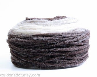 Self Striping Pencil Roving for Knitting, Crocheting, Spinning or Felting, 100 % Wool, Brown Grey Vanilla White Gradient