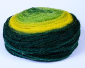 Chunky Wool Pencil Roving / Pre-Yarn, for Knitting, Spinning or Felting Fiber, Dark Green, Green and Yellow