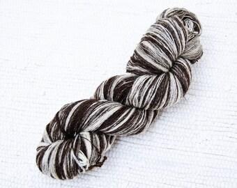 1 ply Lace Weight Kauni Wool Yarn 8/1 Brown and Natural Cream White, Mega-Yardage