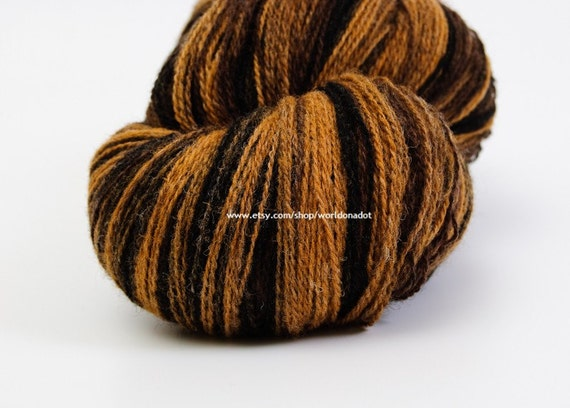 Kauni Wool Yarn Color ED, Self-Striping, Mega-Yardage, Black Brown Mustard Yellow Gradient, FREE SHIPPING Worldwide