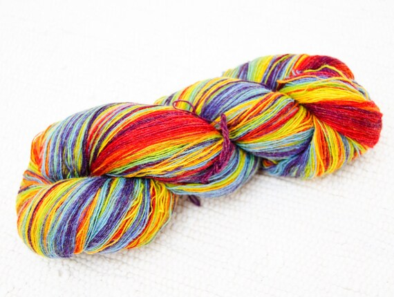 1 ply Lace Weight Kauni Wool Yarn Rainbow 8/1, Mega-Yardage, FREE SHIPPING WORLDWIDE