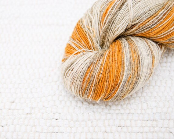 KAUNI Wool Yarn 8/1, Self-Striping, 1 ply Mustard Yellow, Grey and Natural Cream White, FREE SHIPPING worldwide