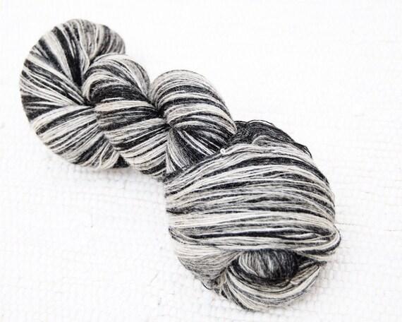 KAUNI Wool Yarn 8/1, 1 ply Lace Weight Black and White, Mega-Yardage, FREE SHIPPING worldwide