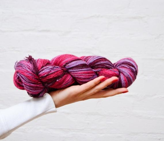 1 ply Lace Weight Kauni Wool Yarn, Hot pink, Candy Pink Lavender Deep Purple FREE SHIPPING WORLDWIDE