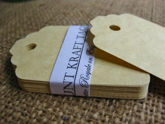 30 Die cut Tan Textured  Paper Tags