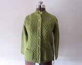Olive Green Sweater with Gold Buttons