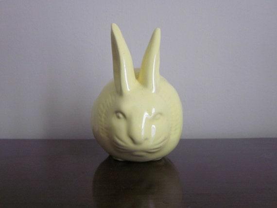 Yellow Ceramic Bunny, Cotton Ball Dispenser