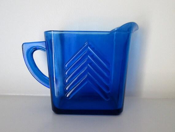 Hazel Atlas Cobalt Blue Chevron Pitcher, Creamer
