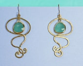RESERVED FOR A.C. Swirl  chandelier aqua drop earrings in gold with framed  faceted aqua crystal