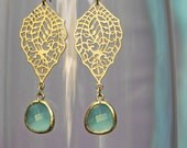 chandelier Filigree paisley earrings. Gold earrings with framed and faceted sea green drop
