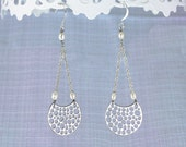 Moonlight earrings. Night moon earrings in silver, and and freshwater pearl