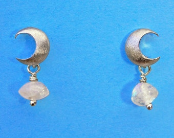 Moonlight moonstone. Tiny silver moon earrings with sterling posts and mini blue flash moonstones