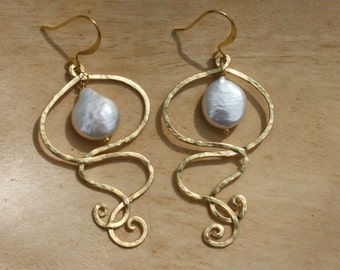 Swirly pearl drop earrings in gold with coin teardrop shaped pearl