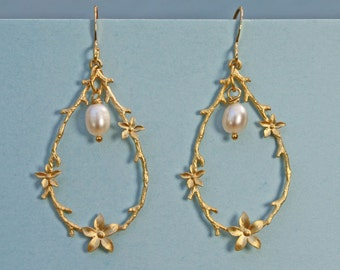 Jasmine flower teardrops with a single freshwater pearl