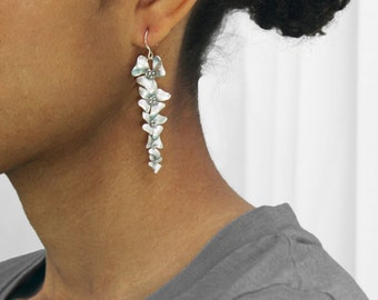 Hibiscus flower cascade earrings in silver . five silver flowers for your valentine