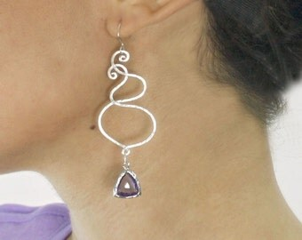 chandelier  Swirl earrings. Silver and purple drop earrings with Sterling silver ear wires and trillion drop.