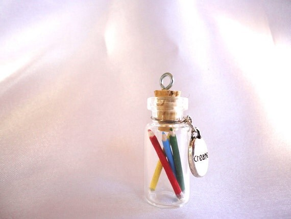 Creativity in a Bottle-necklace with handmade coloring pencils in a tiny jar