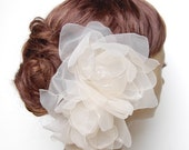 Double Couture Crystal Gardenia Oversized Flower Fascinator : F010 made to order