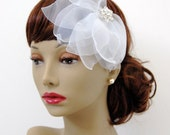 Magnolia Silk Organza Flower Fascinator : F035 made to order, white, ivory, champagne, customizable, overized