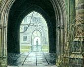 Princeton Arch Series- Holder Hall Court yard 1999 (framed)