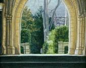 Princeton Arch Series- Hamilton Hall Courtyard 1999 (framed)