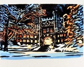 Princeton Winter IV - Original Hand Printed and Watercolor Block Print