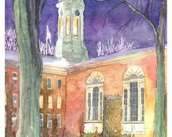 Nassau Hall, Princeton - winter Night - Study 2001