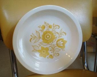 Yellow Floral Pattern Vintage USA Serving Bowl