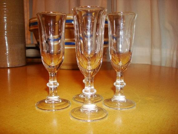 Vintage Stemmed Cordial Glasses Set of Four