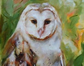 Bird Owl Painting ORIGINAL oil - Barn Owl with Abstract Green and Amber Leaves