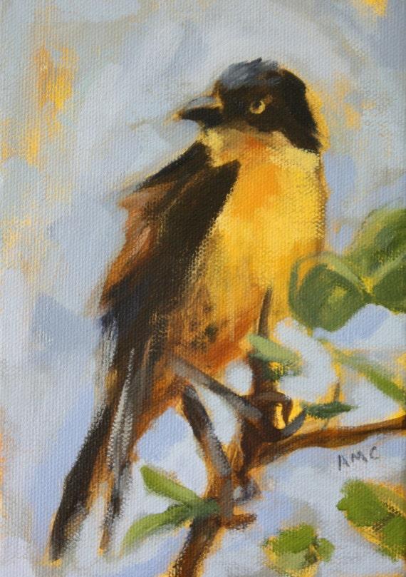Bird Art ORIGINAL Painting - Small Canvas - Blue Gray Sky