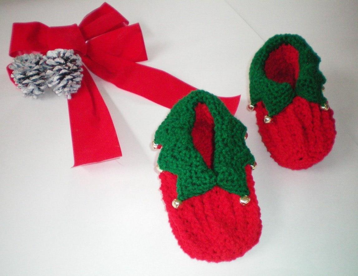 Free Crochet Pattern For Elf Shoes : Crochet Yuletide Elf Slippers Item CBJ610