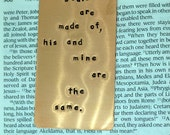 Personalized Bookmark - Whatever souls are made of, his and mine are the same - Hand Stamped Copper Bookmark  - - Great  Gift!