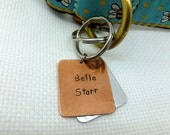 Pet Identification Tag , Dog Tag , ID Tag , Copper & Aluminum Mix , Hand Stamped, Boyfriend Gift, Anniversary gift for man Art