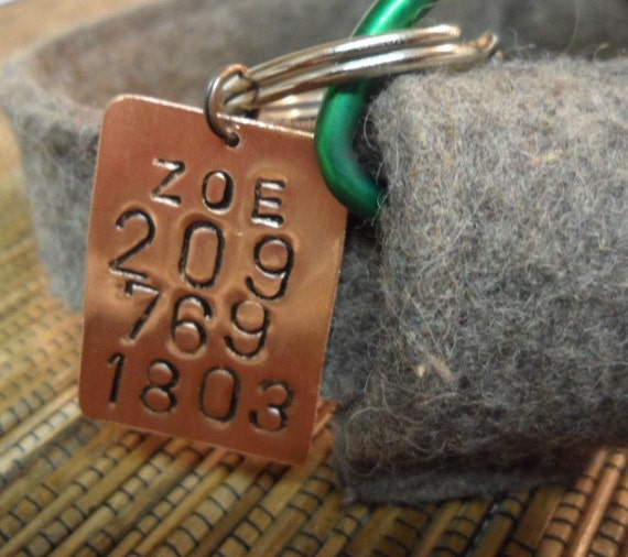 Hand stamped pet tag, jewelry, phone number, name on copper  ,    , Boyfriend Gift,  , Anniversary gift for man Art