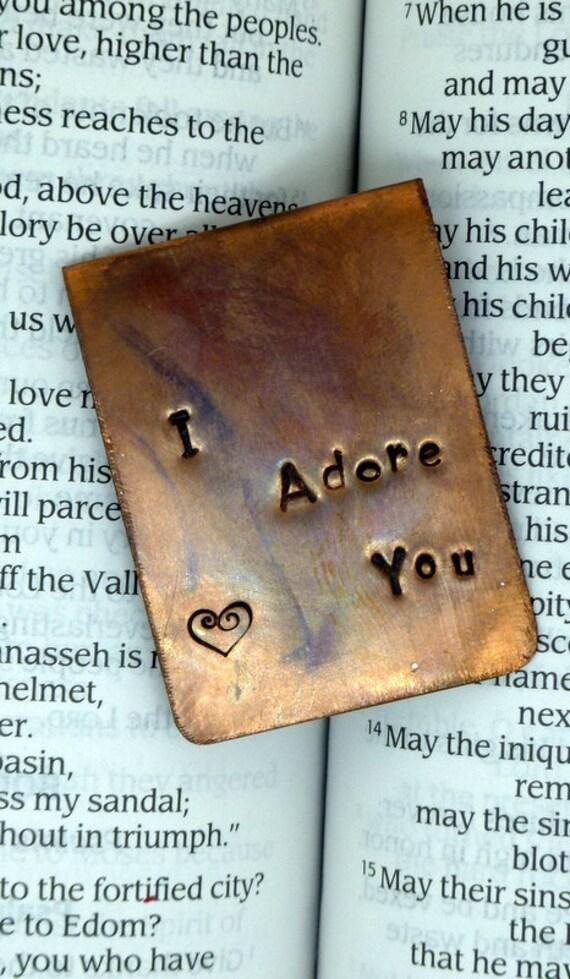 Personalized Copper Bookmark - Hand Stamped - Antiqued - Boyfriend Gift - Girlfriend - Husband Wife Gift - Book Marker - Custom Bookmark