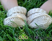 Crochet Baby Beige Booties Shoes/Listing for 0-6 months/Spring Fashion/ Easter
