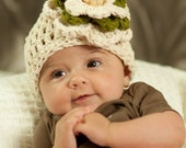 Crochet Baby Beanie Flower Beige Ivory Green/ Spring Kids Fashion/ Made to Order/ Pure Cotton/ Eco Friendly/Crochet Baby Beanie