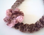 """Pink Brown Baby Crochet Headband/ Ready to Mail/ OOAK/ Newborn Size 12"""" - 14"""" Size/ On Sale/ Free Shipping"""