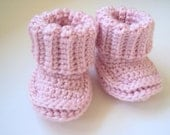 Crochet Baby Pink Booties Shoes/Listing for 0-6 months/Spring Fashion/ Easter