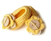 FREE Shipping/ Yellow Crochet Baby Shoes/  Listing for 6 to 12 month Baby Girl/ Spring Fashion/kid shoes child clothing